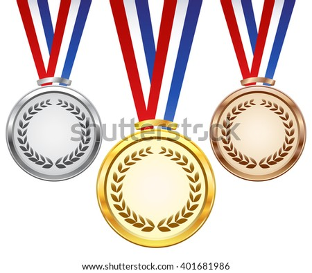 Gold, silver and bronze award medals - stock vector