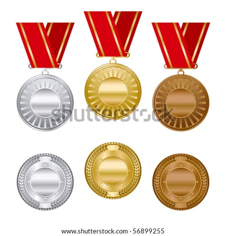 Gold silver and bronze award medals set. - stock vector