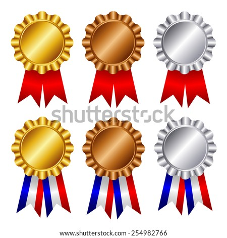 Gold , silver and bronze award ribbons  - stock vector