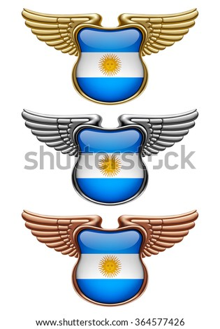 Gold, silver and bronze award signs with wings and Argentina state flag. Vector illustration - stock vector