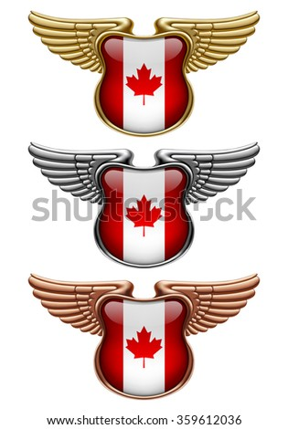 Gold, silver and bronze award signs with wings and Canada state flag. Vector illustration - stock vector