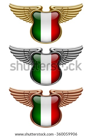 Gold, silver and bronze award signs with wings and Italy state flag. Vector illustration - stock vector