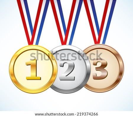 Gold, silver and bronze medal