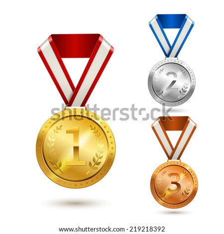 Gold silver and bronze medal awards isolated vector illustration - stock vector