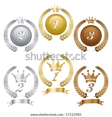 Gold silver and bronze medals - stock vector