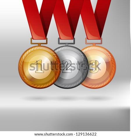 Gold, Silver and bronze medals vector award - stock vector