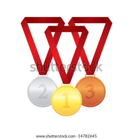 Gold, silver and bronze medals, vector illustration - stock vector