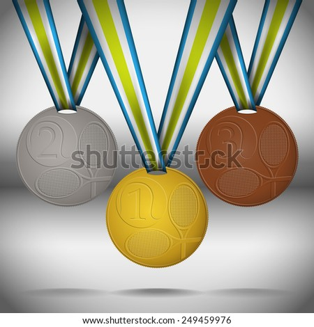 Gold, silver and bronze medals with ribbons dedicated tennis competitions. Vector illustration. - stock vector