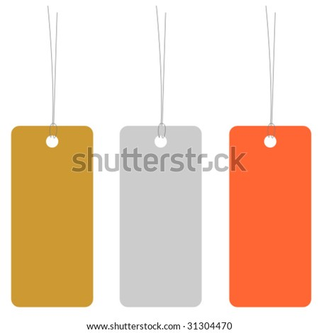 Gold, silver and bronze price tag or address label with string
