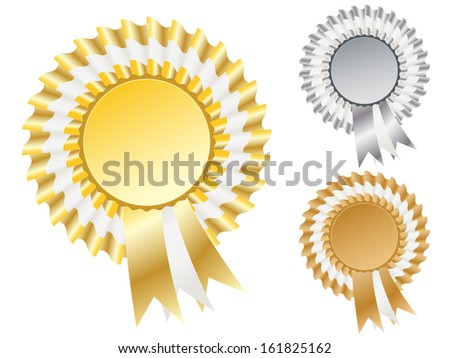 Gold , silver and bronze rosette badges - stock vector