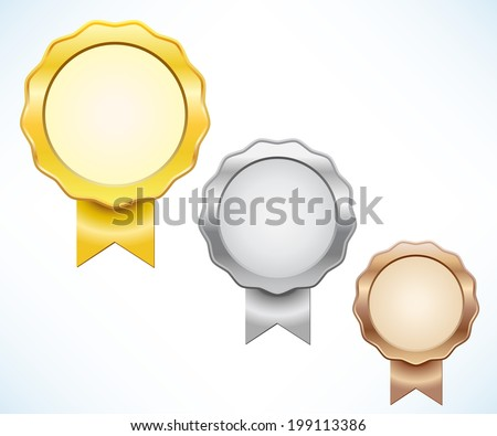 Gold, silver and bronze seal of quality - stock vector