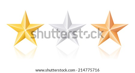 Gold silver and bronze stars - stock vector