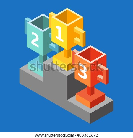 Gold, Silver and Bronze Trophy Cup on prize podium. Champions or winners Infographic elements. Vector illustration. Cups isometric 3d icon - stock vector