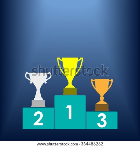 Gold, Silver and Bronze Trophy Cup on prize podium. First place award. Champions or winners Infographic elements. Vector illustration. - stock vector