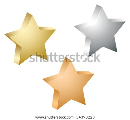 Gold, silver and bronze vector star - stock vector
