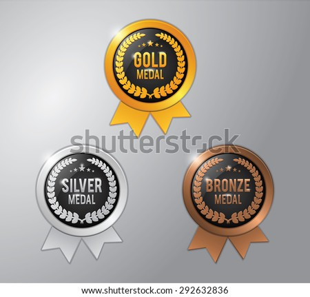 gold, silver and bronze winner badge medal - stock vector