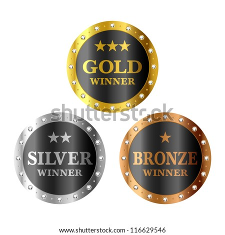 Gold, silver and bronze winner medals. Vector. - stock vector