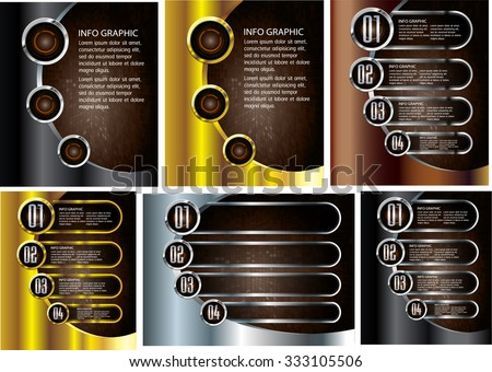 gold silver black modern text box template for website computer graphic technology and internet, numbers. Set of color frames for text or quotes. brochure. many, various - stock vector