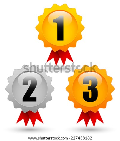 Gold, silver, bronze medals with 1st, 2nd, 3rd labels, red ribbons and slight shadows - Top 3 places, winners, trophy, award, prize concepts. Eps10 vector - stock vector