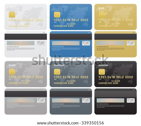 Gold, Silver, Platinum, Diamond Credit cards template on white background. Vector illustration - stock vector