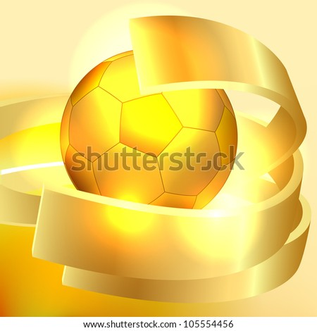 Gold soccer ball background - stock vector