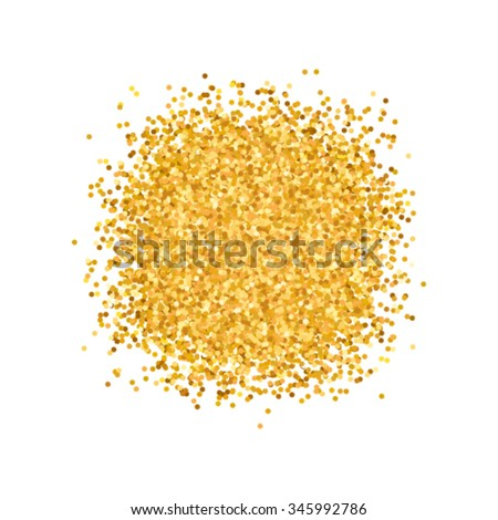 Gold sparkles circle on white background, glamour metallic foil luxury golden glitter texture backdrop for vip, exclusive certificate, gift cards, shop voucher, Christmas present labels