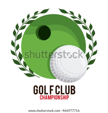 Gold sport concept represented by hole and ball icon. Colorfull and flat illustration.
