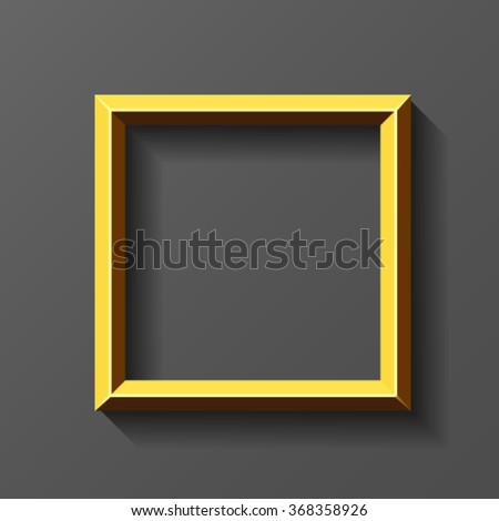 Gold square frame with bevel - stock vector