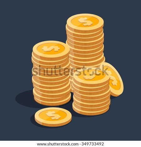 Gold stack of dollar coins. Vector isometric money icon on a colored background. Money flat icon in isometric style. Money gold coins stacks. Money illustration of wealth and condition. Money coins. - stock vector