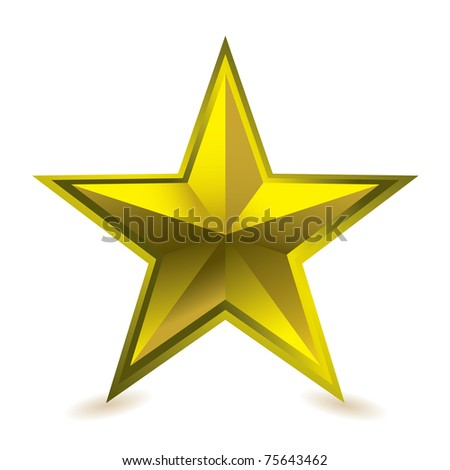 Gold star award ideal gift icon for golden performance - stock vector