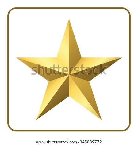 Gold star icon. Pentagonal sign with gradient. Elegant symbol of achievements and victories. Design element for your logo, Product quality rating, isolated on white background. Vector illustration