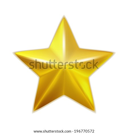 Gold star isolated. Vector - stock vector