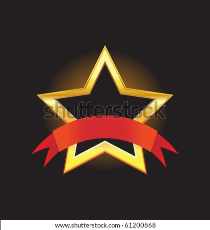 gold star with ribbon - stock vector