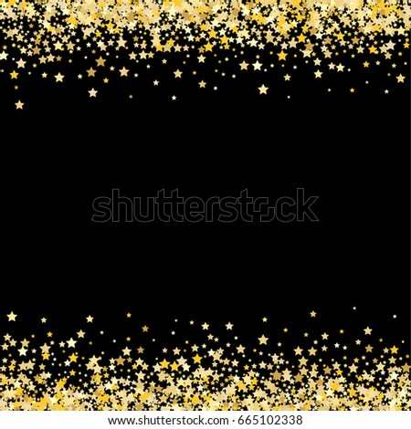Gold Stars On Black Background Vector Stock Vector - Golden gold birthday invitation background