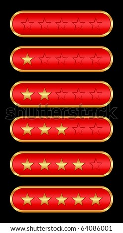 Gold stars (red background) - stock vector