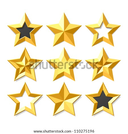 Gold stars set. Vector. - stock vector