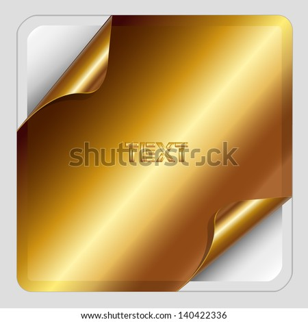 Gold Sticker with dog-eared. - stock vector