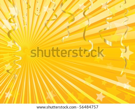 Gold streamers and star background with space for text. EPS10. - stock vector