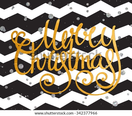 Gold textured handwritten calligraphic inscription Merry Christmas on modern black background with silver confetti. Design element for festive banner, card, invitation, postcard. Vector illustration. - stock vector