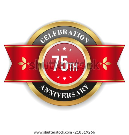 Gold 75th anniversary badge with red ribbon on white background