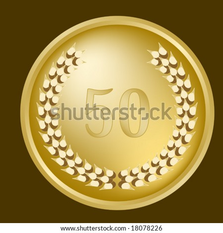 Gold 50th Anniversary laurel wreath - stock vector