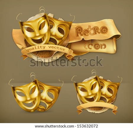 Gold theater masks, vector icon - stock vector