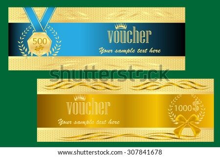 gold ticket voucher gift certificate coupon stock vector 307841678