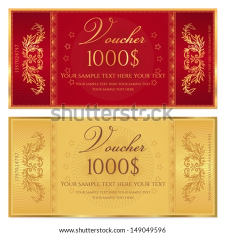 Gold ticket, Voucher, Gift certificate, Coupon template with floral border. Background design for invitation, banknote, money design, currency, check (cheque). Vector in gold, red (maroon) colors - stock vector