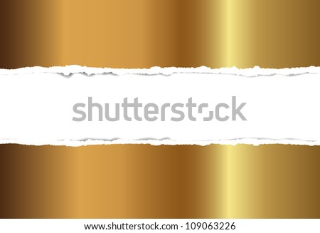 Gold torn paper, vector background for design - stock vector