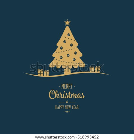gold tree merry christmas type blue background