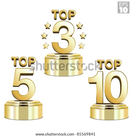Gold trophies for the top ten, top five and top three ranking - stock vector