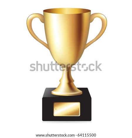 Gold Trophy Cup, Isolated On White Background, Vector Illustration - stock vector
