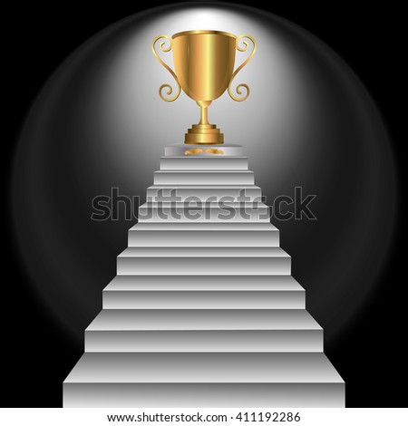 Gold Trophy Cup on prize podium. First place award. Vector illustration. - stock vector