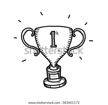 Gold Trophy Doodle, a hand drawn vector doodle illustration of a gold trophy for the first position winner. - stock vector